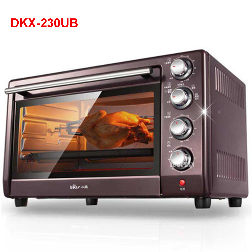220V /50hz DKX-230UB electric oven home baking multi-functional independent temperature control 30L grill barbecue 1600W Ovens shipule multi function electric ovens for home bakingcakes52l capacity mini stainless steel baking oven with hot plates