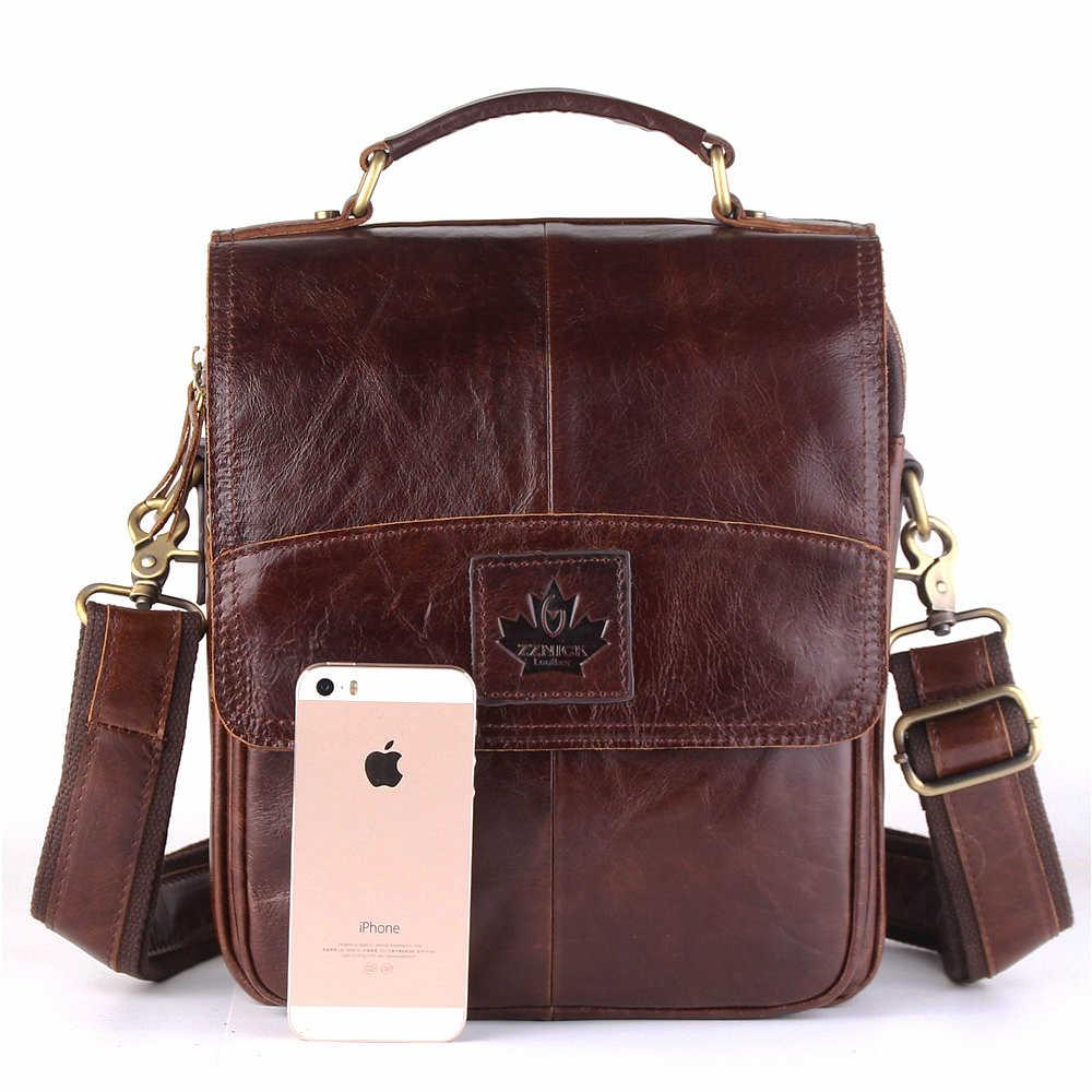 30598845f2b1 ... Натуральная Воловья кожа Crossbody Сумки Мода Для мужчин Курьерские  сумки Для мужчин мужская сумка на молнии