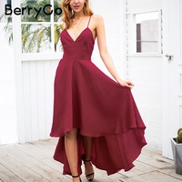 BerryGo Sexy Strap Backless Summer Dress Women Wine Red Lace Up Maxi Dress Elegant Party Dresses