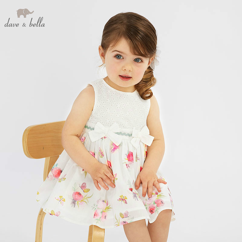 DBF9598 DAVE BELLA summer baby girl princess clothes children birthday party wedding dress with bows boutique