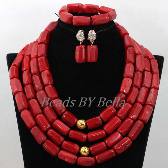 Natural Coral Beads African Wedding Jewelry Set Bridal Jewelry Red Coral Nigerian Beaded Necklaces Sets Free Shipping ABK063