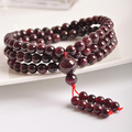 Natural Wine Red Garnet Stone  108 beads beaded strand bracelets tibetan rosary buddhism prayer beads