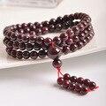 Vino Rojo Granate Piedra Natural 108 cuentas de cuentas strand pulseras rosario tibetano budismo cuentas de oración