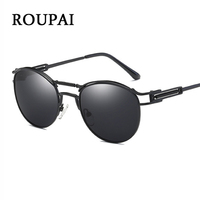 ROUPAI Vintage Round Sunglasses Male Retro Women Brand Design Spring Steampunk Goggles Black Metal Woman Polarized
