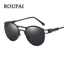 Фотография ROUPAI Vintage Round Sunglasses Male Retro Women Brand Design Spring Steampunk Goggles Black Metal Woman Polarized Sun Glasses