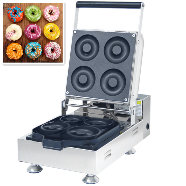110/220V Commercial Electric Donut Maker Machine 4pcs Stainless Steel Non-stick Doughnut Maker Machine Round Donut Baker Machine