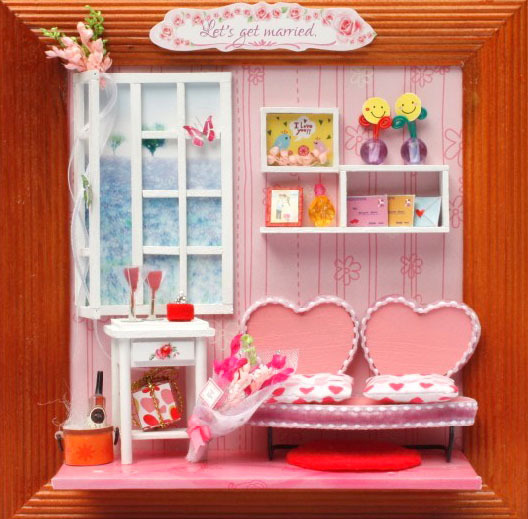 13605 Couples living room hongda diy wooden dollhouse miniatures for ...