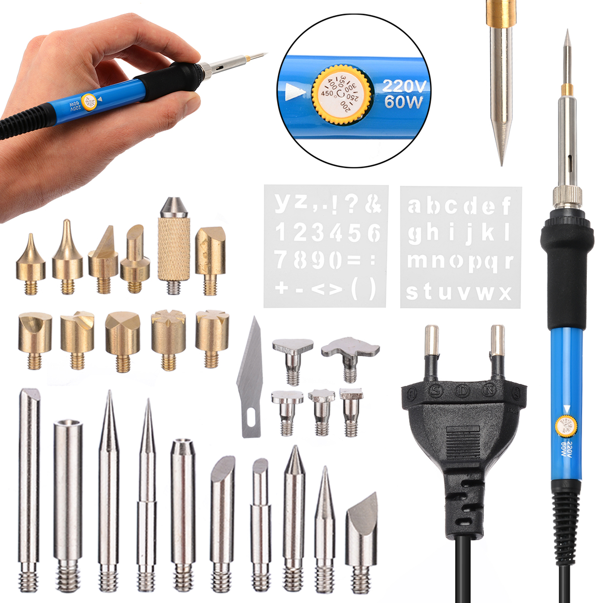 28pcs 60W Wood Burning Kit Carving Pyrography Pen Kit Adjustable Temperature Soldering Iron Welding Wood Embossing