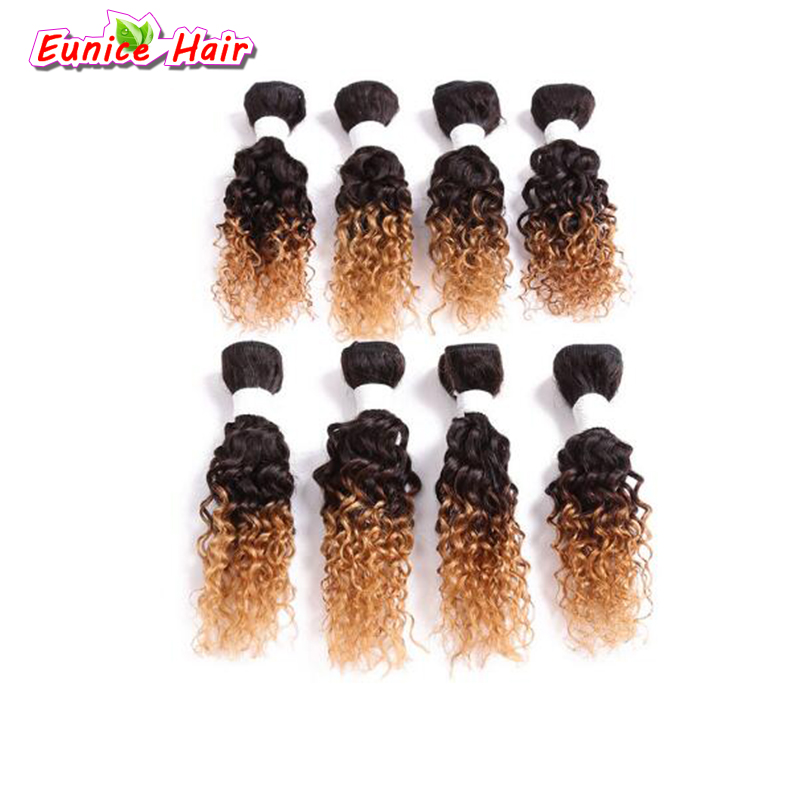 8inch Ombre Blonde Jerry Curly Brazilian Weave Bundles Short Sew In Hair Extensions For Black Women Hairstyle 8pcs/pack