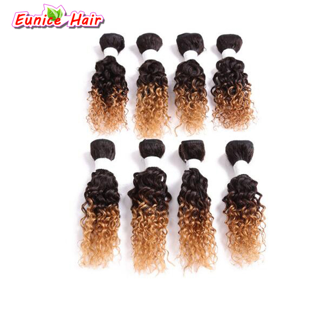 8inch Ombre Blonde Jerry Curly Brazilian Weave Bundles Short Sew In