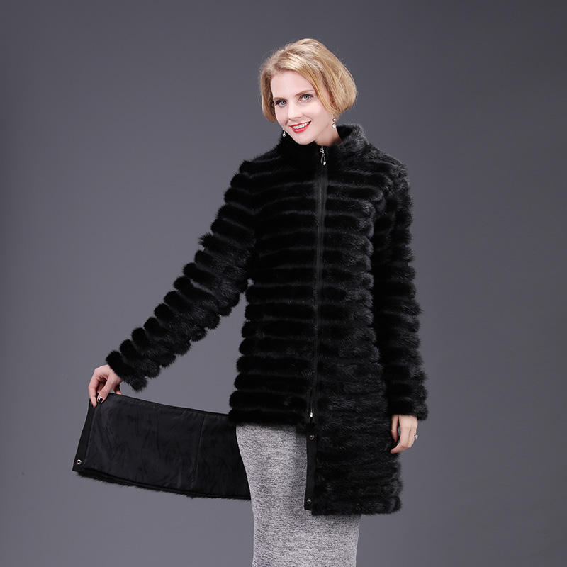 2018 nova real mink fur coat jacket alta aquality removível destacável sólida mulheres natural fox fur casaco quente grosso rua estilo