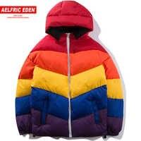 Aelfric Eden Rainbow Color Patchwork Parkas Men Fashion Jackets Thick Warm Hip Hop Streetwear Winter Cotton-padded Overcoat SP34