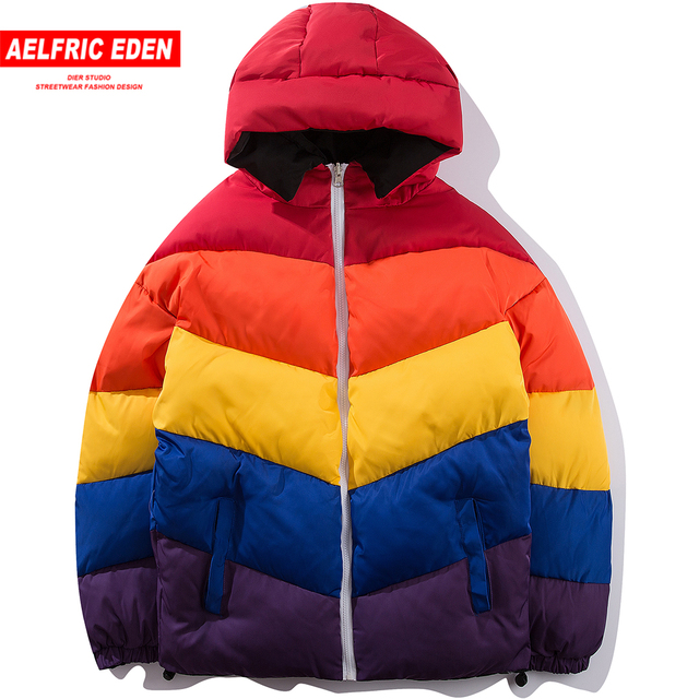 Flash Sale Aelfric Eden Rainbow Color Patchwork Parkas Men Fashion Jackets Thick Warm Hip Hop Streetwear Winter Cotton-padded Overcoat SP34