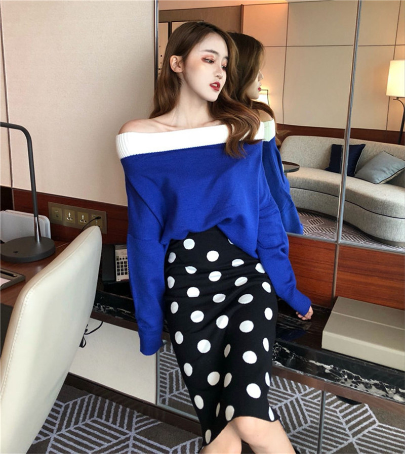 2019 Spring Women Off Shoulder Knit Pullovers Plus Size Loose Slash Neck Sweaters Long-sleeved Strapless Contrast Color Jumpers