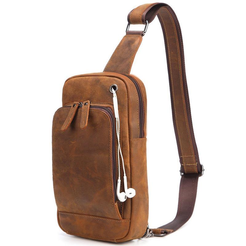 Designer hommes Vintage loisirs affaires voyage en cuir véritable poitrine sacs haute qualité Crazy Horse cuir Crossbody sacs hommes Pack