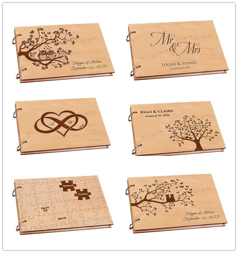 Personalisierte Hochzeit Fotoalbum, Rustikalen Holz Hochzeit Gästebuch, Diy A4 Sammelalbum Album für Unterschrift, Baby Buch, hochzeit Decor