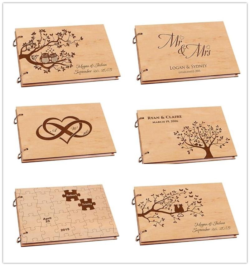 Personalized Wedding Photo Album,Rustic Wooden Wedding Guestbook,Diy A4 Scrapbook Album for Signature ,Baby Book ,Wedding Decor
