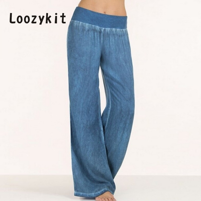 LOOZYKIT 2019 Casual Loose   Wide     Leg     Pants   Women Plsu Size 5XL Fashion Blue Black   Pants   Trousers Female Baggy Jogger Sweatpants