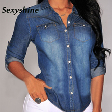 Купить с кэшбэком Demin shirt blouses women 2018 befree tunic office korean style fashion long sleeve spring autumn elegant satin ladies jeans top