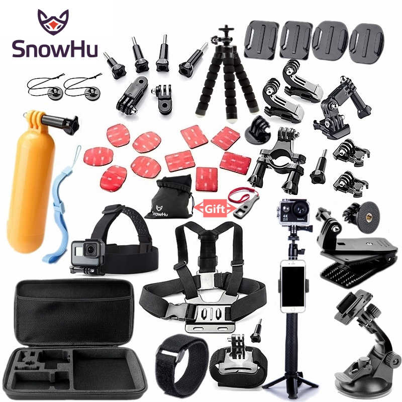 SnowHu For Gopro accessories set mount for go pro hero 7 6 5 4 3 black for xiaomi yi 4K action camera accessories case GS52