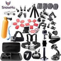 SnowHu pour Gopro accessoires ensemble de montage pour go pro hero 8 7 6 5 4 3 noir pour xiaomi yi 4K action caméra accessoires étui GS52