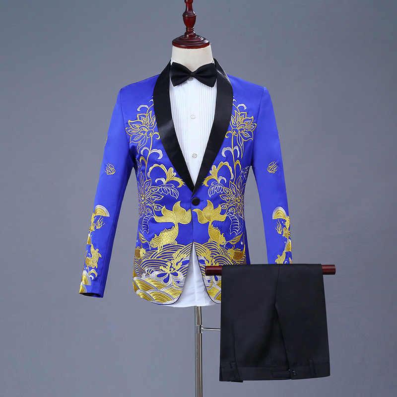 ゴールド刺繍ドレススーツ男性スリムフィットショールラペルメンズ白スーツパンツとステージウエディング結婚式新郎歌手の衣装オム