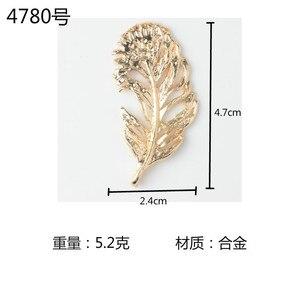 Image 5 - 高品質 50 個ゴールドカラー亜鉛合金ビッグリーフチャームフェザーペンダント diy 手作りジュエリーメイキング