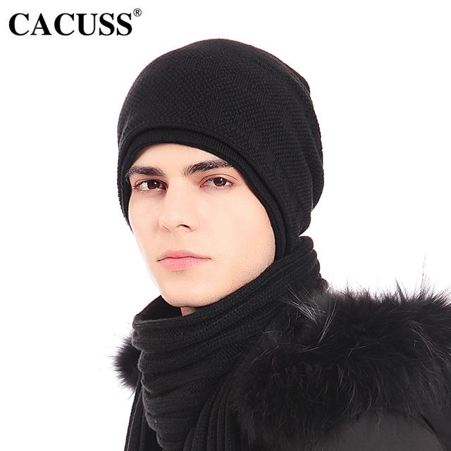 Cacuss gorros sombreros de los hombres sólidos sombreros de lana caliente casual male hip-pop casquillo Negro de Punto Baggy Esquí Sombrero para Mujer Casual Skullies Sombreros Para Los Hombres