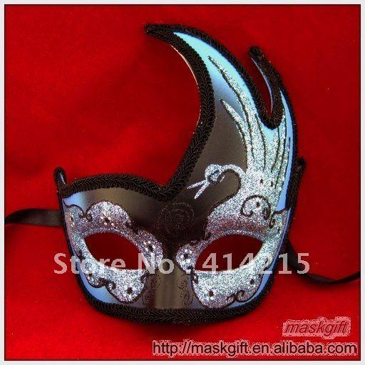 DHL в США светло-голубой и черный ПВХ Маскарад Хэллоуин карнавальные маски, 48 шт./лот