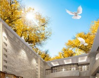 High quality Ceiling 3D Wallpaper Photo Printing Apricot tree landscape 3D Ceiling Murals Living room art Murals Wallpaper