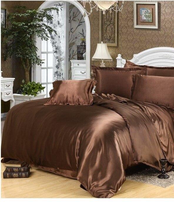 Роскошные шелковые постельные принадлежности коричневый Атлас Калифорния king size Queen Доона Одеяло пододеяльник установлены простыни двойны