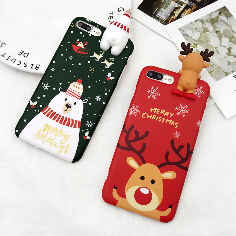 HTB1lKX0XPgy uJjSZK9q6xvlFXad - Christmas Gift Phone Case For iPhone 6 6S 7 8 Plus Cartoon Christmas Deer & Snowman Soft TPU Phone Back Cover Cases PTC 284