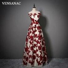 VENSANAC Nova Uma Linha 2017 Flores Boat Pescoço Longos Vestidos de Noite Arco Sem Mangas Elegante Sashes Party Prom Vestidos