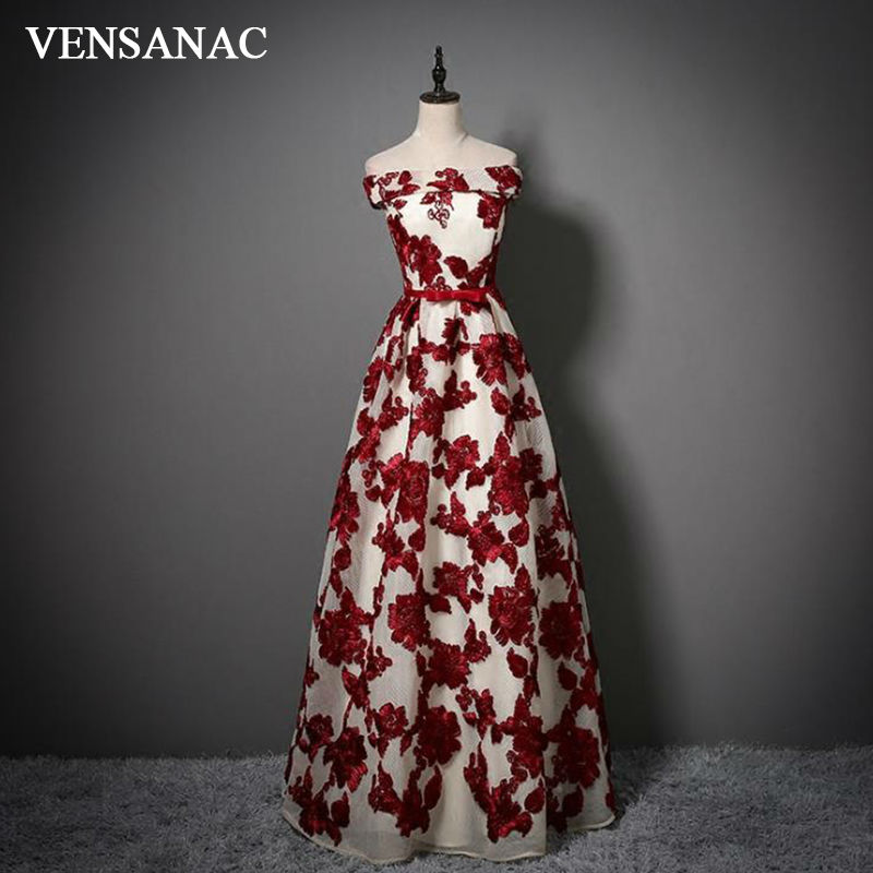 VENSANAC New A Line 2017 Flowers Boat Neck Long Evening Dresses Bow Sleeveless Elegant Sashes Party Prom Gowns