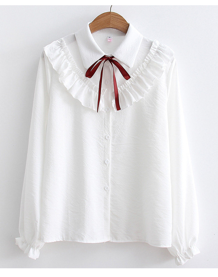 Ruffles Striped Bow Flare Long Sleeve Chiffon Blouse Shirt 4