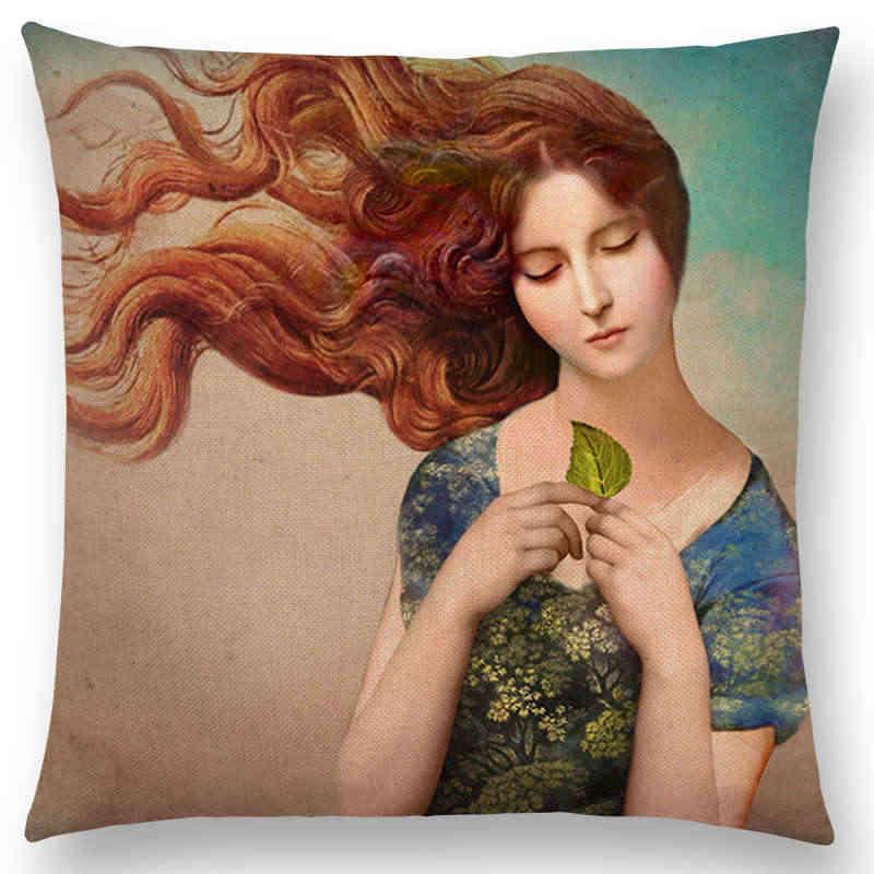 Phụ Nữ thanh lịch Đáng Yêu Cô Gái Shakespeare Opera Tranh Cổ Điển Magical Tâm Trí Tưởng Tượng Cổ Điển Cushion Cover Sofa Pillow Case