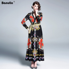Banulin Autumn Winter Runway Vintage Maxi Dress Womens Fashion Long Sleeve Loose Big Size Robe Casual Vacation