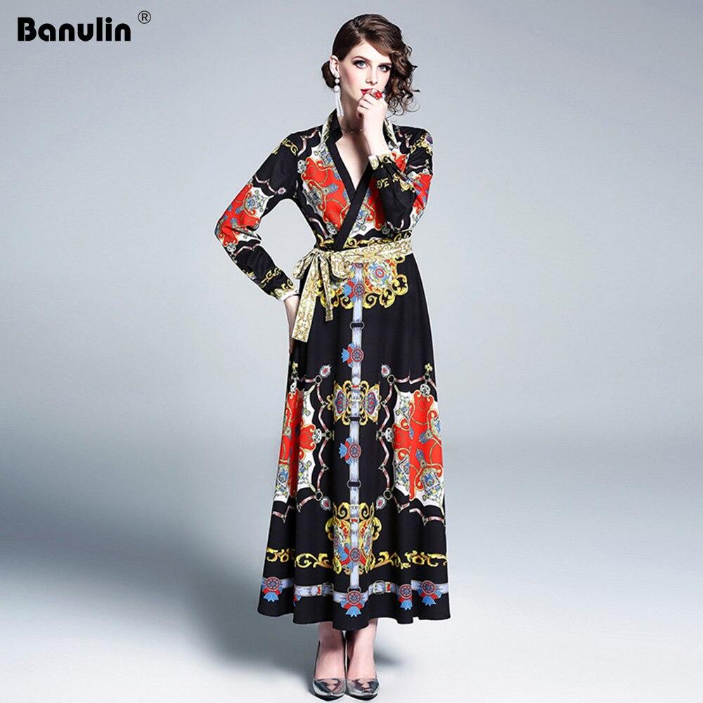 Banulin automne hiver piste Vintage Maxi Robe femmes mode à manches longues lâche grande taille Robe décontracté vacances Maxi longue Robe