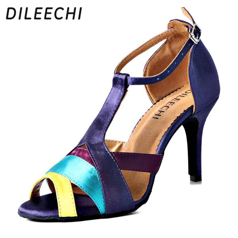 DILEECHI Satin Latin dance shoes women s adult Ballroom dancing shoes high heeled 8 5cm soft