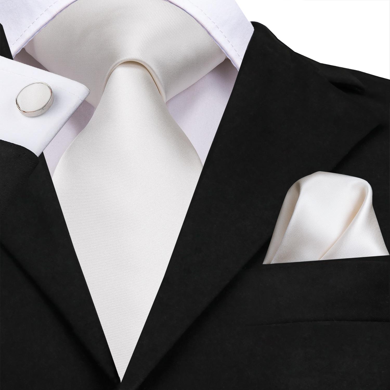 SN-3139 White Solid Tie 8.5cm Silk Jacquard Woven Men Tie Plain Necktie Hanky Cufflinks Set Wedding Classic Pocket Square Tie