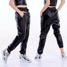New Fashion Autumn Winter Women Clothes Black Faux Leather Joggers Women Loose Jogger Hip Hop Street