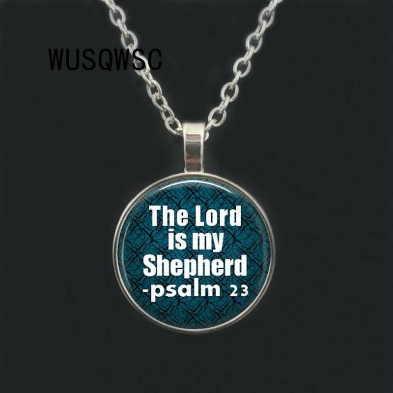 WUSQWSC el Señor es mi pastor Salmo 23 Biblia verso collar biblia cita joyería cristiana mujeres hombres hermana BFF collares regalos
