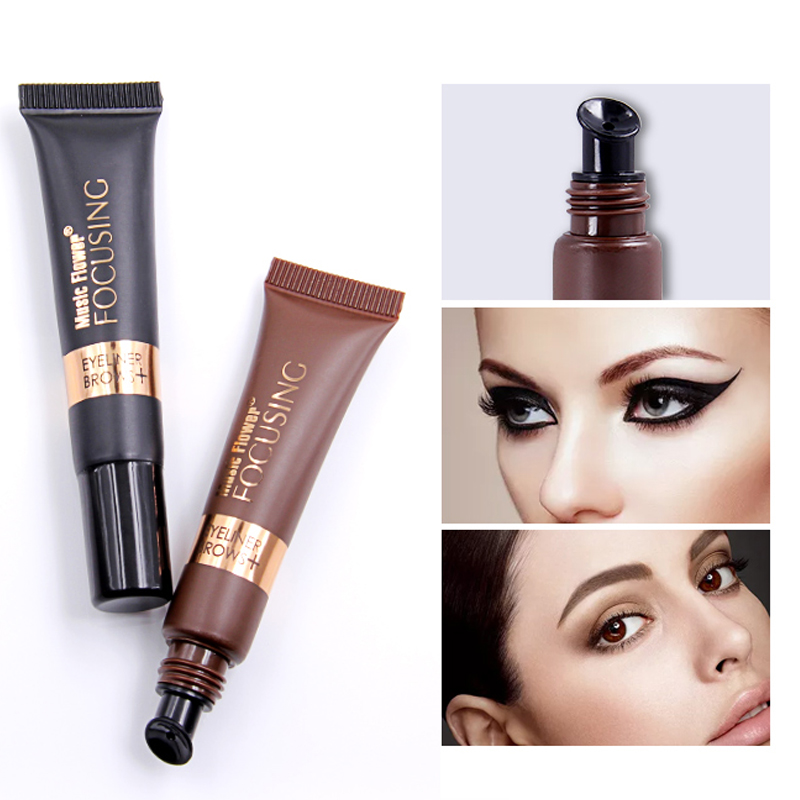 Music Flower Eyeliner+Eyebrows Cream With Brush Waterproof Quick-drying Smooth Texture Long-wear Eye Makeup Women Cosmetics
