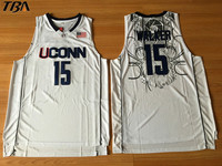 TBA 2017 New Uconn 15 Huskies Kemba Walker Home White Basketball Jersey For Men Embroidery Logos