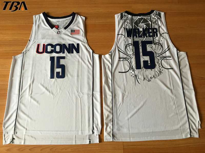 dfc461961e37 ... tba 2017 new uconn 15 huskies kemba walker home white basketball jersey  for men embroidery