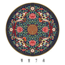 New Chinese Round Carpet Zen Ancient Style Hi Peony Flower Bedroom Bedside Mat Hanging Basket Cushion