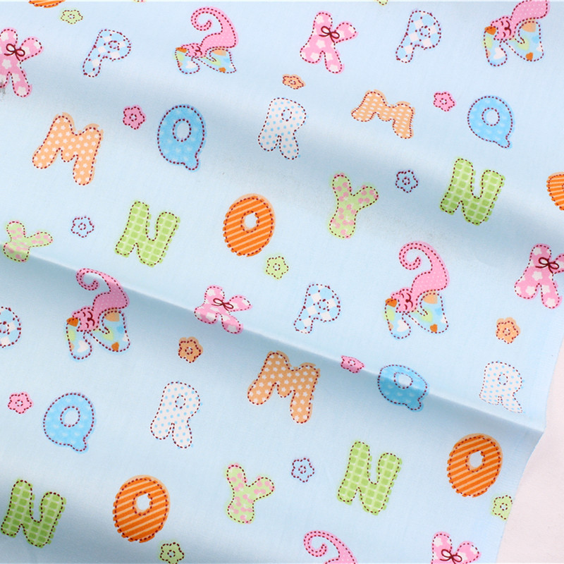 16229124 , English alphabet white cotton fabric, width 1.6 meters, DIY handmade crib bedding sets, pillows, tablecloths