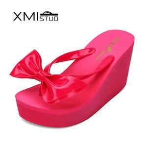Image 5 - Xmistuo moda feminina flip flops com arco feminino verão praia cunhas resistente à água 10cm de salto alto chinelos sapatos femininos