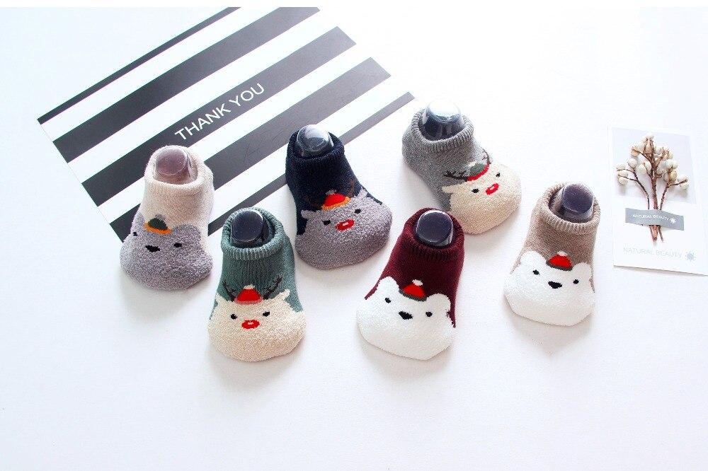 Infant Cartoon Fleece Baby Socks Boy Girl Cotton Floor Anti slip Cute Christmas Pattern Newborn Baby