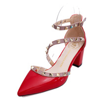 LIAM Women shoes high heel spring and summer  sandals new pointed fine with thick bottom rivet buckle womens